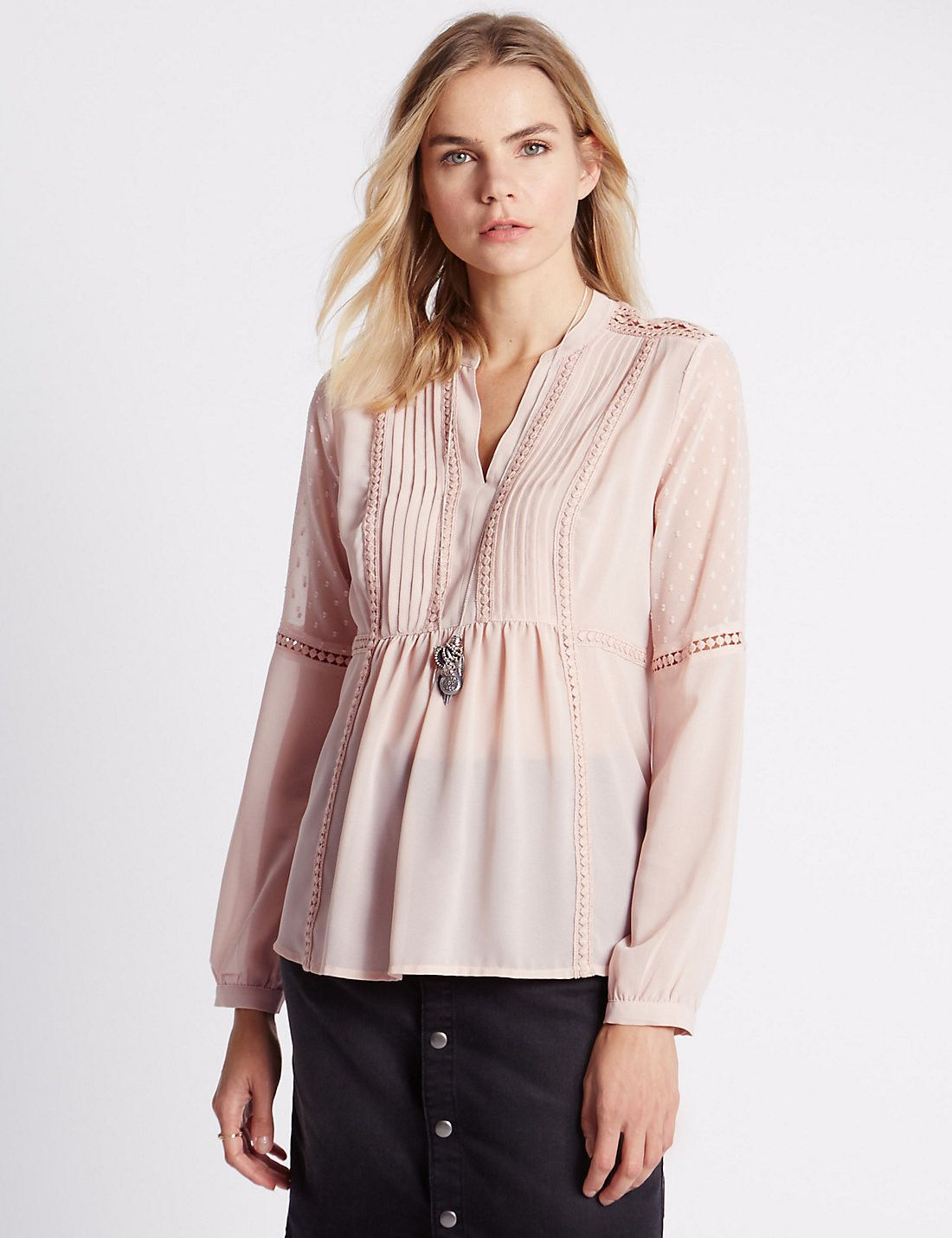 Pintuck Dobby Blouse Pink