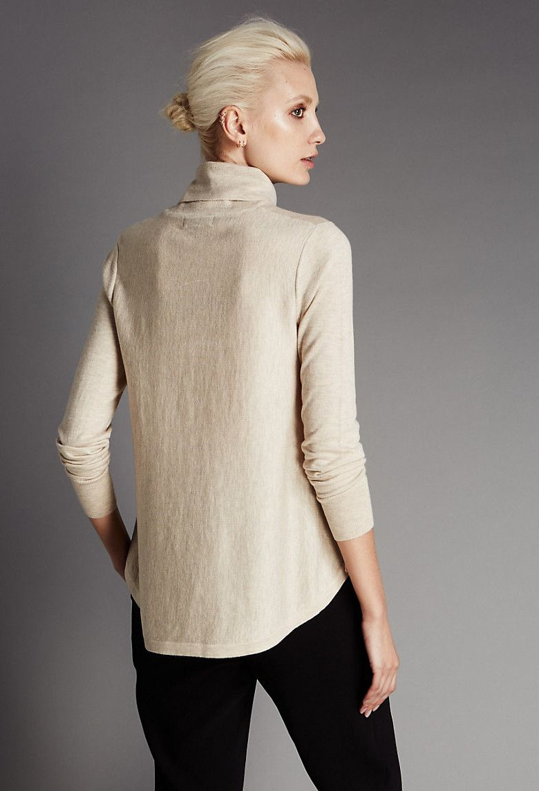 WOOL BLEND POLO NECK JUMPER WITH SILK