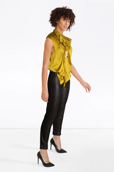 MB leather trousers,Yellow Lanvin Top