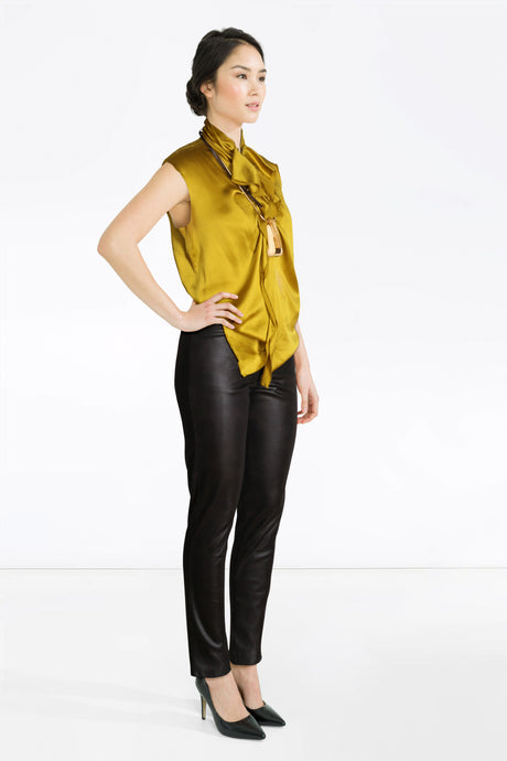 MB Leather Trousers, Yellow Lanvin Top