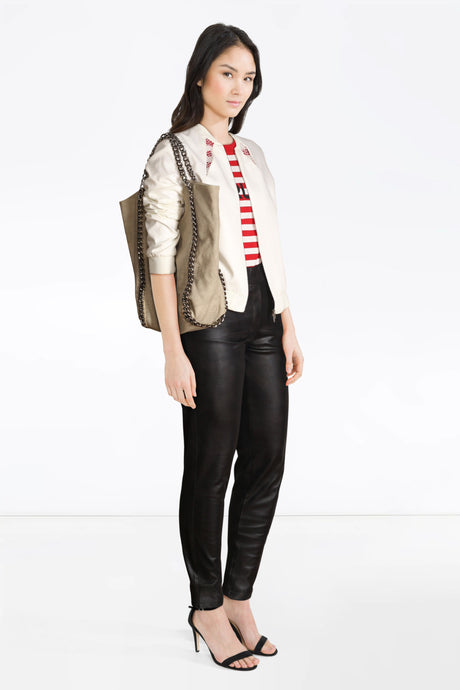 styled jacket,MB leather trousers