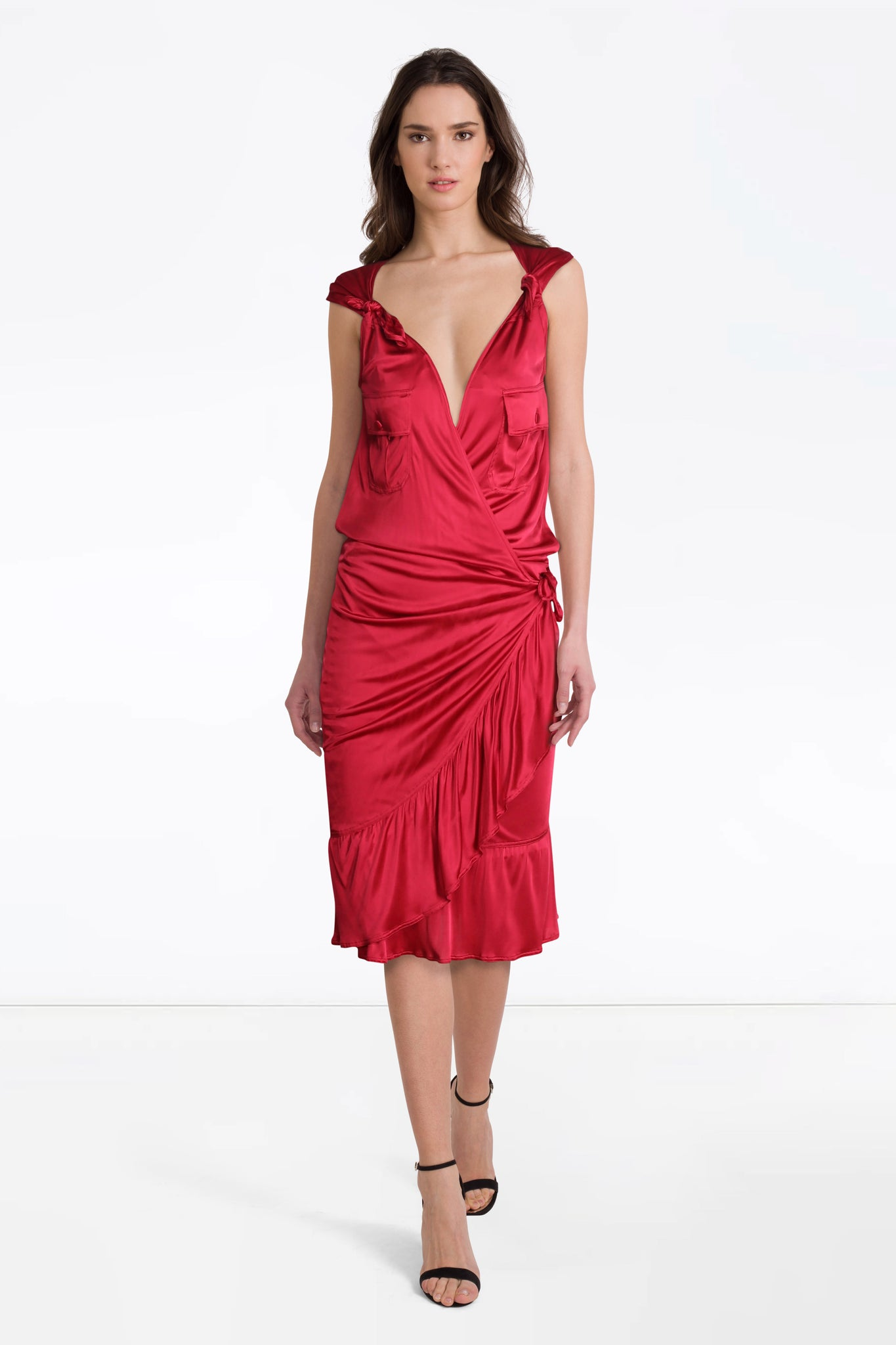 YSL red wrap dress