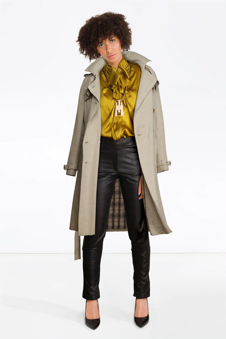 MB leather trousers, Yellow Lanvin Top, Trench Coat