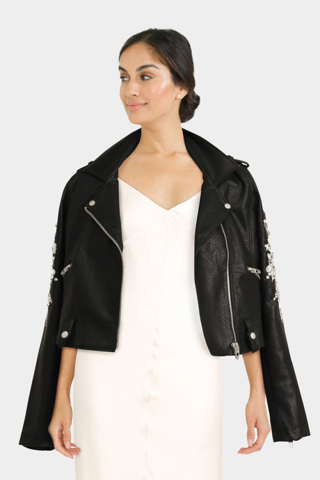 Biker Jacket With Jewel Embellishment