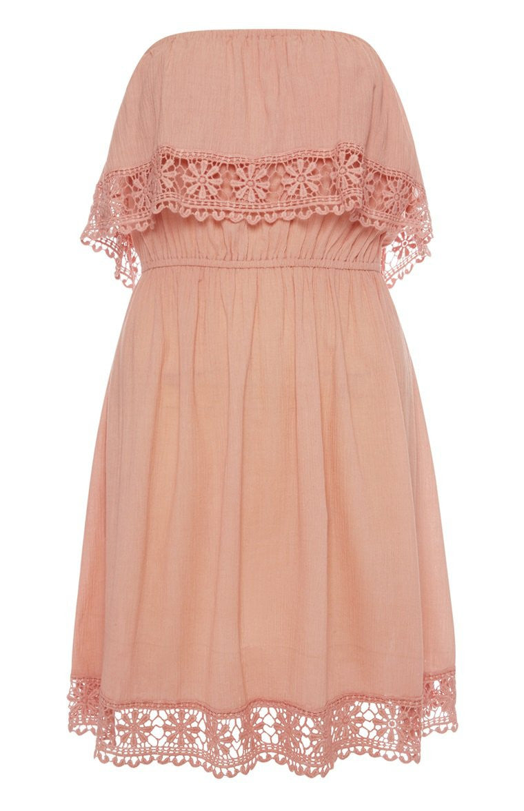 Off-the-shoulder pink dress