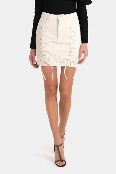 Urban Bliss Petite Lace Up Denim Mini Skirt