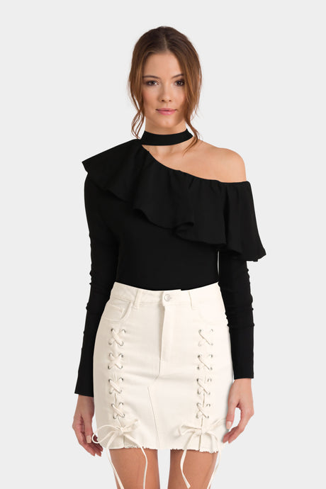 Asos Tall Off Shoulder Top With Choker And Ruffle