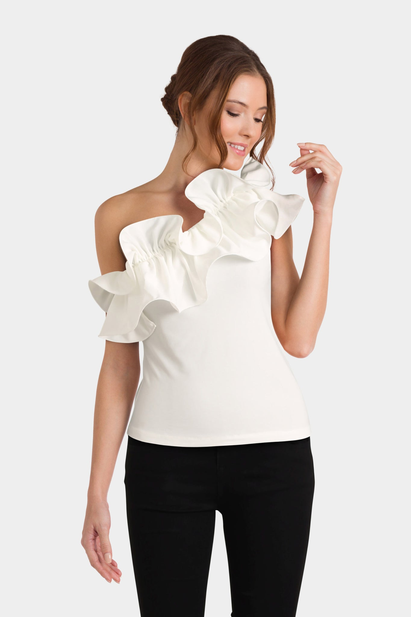 Asos Top In Crepe With Pretty Ruffle Detail