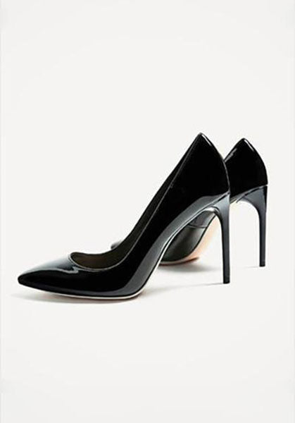Black Patent Finish High Heel Shoes