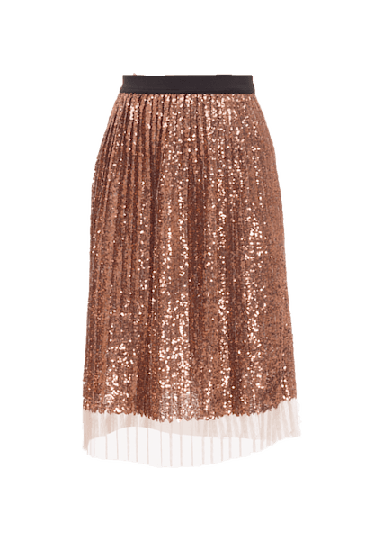 TOPSHOP SEQUIN PLEATED MIDI SKIRT