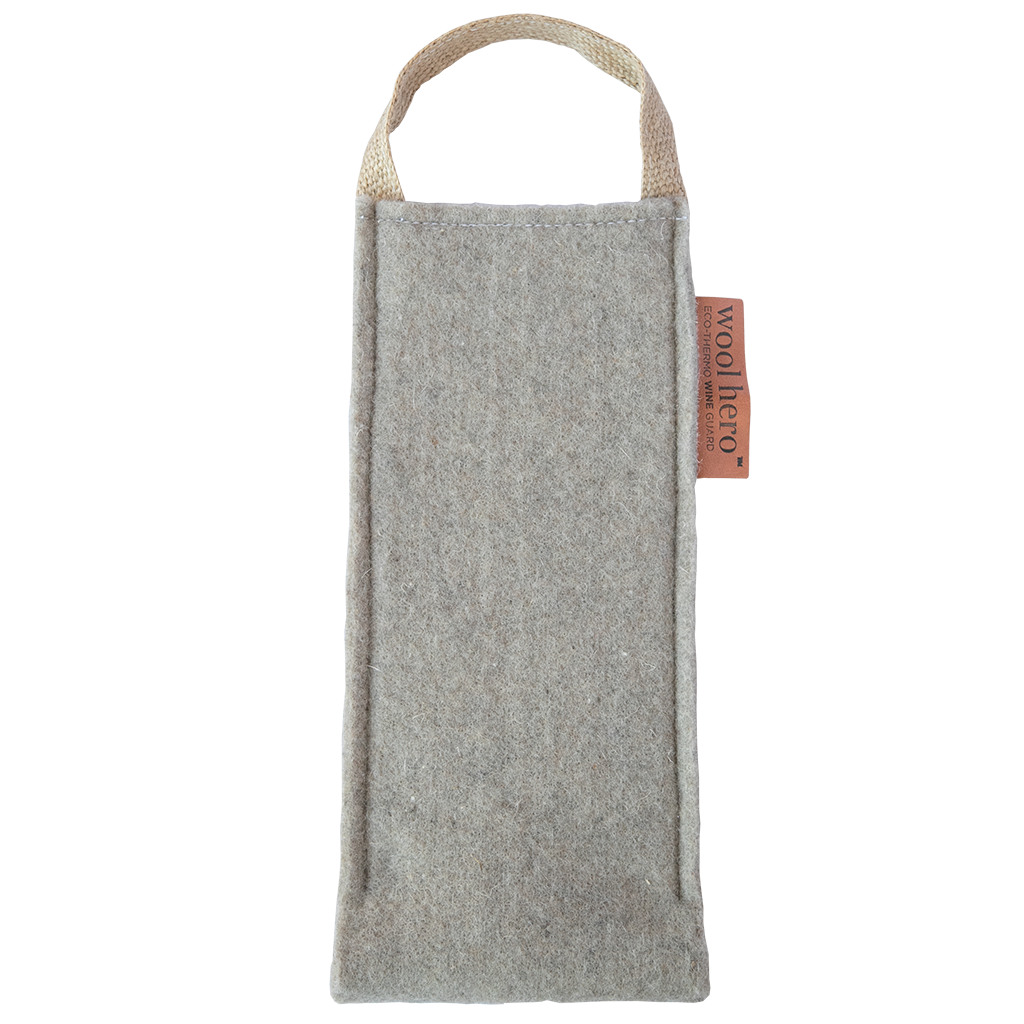 original wool hero wine guard tote bag with leather tag