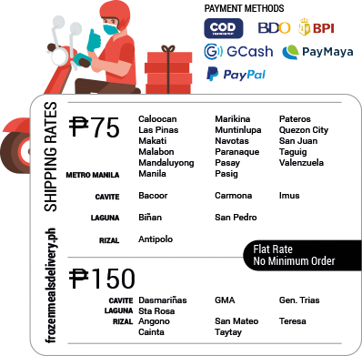 frozenmealsdelivery.ph Delivery Rates • Authorized online reseller of Kitchen City Frozen Meals
