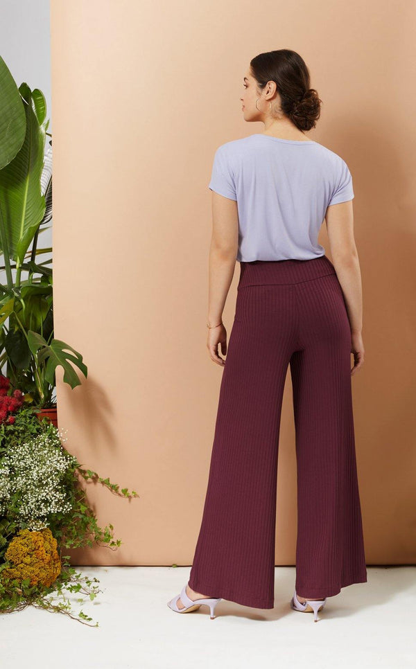 The Michelle Wide Leg Pant - Rib