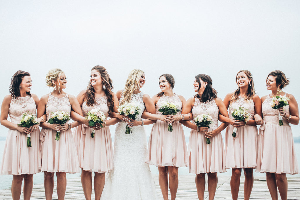Short lace and chiffon blush pink bridesmaid dresses | 11 Pin-Worthy Blush Bridal Parties | Ali Kvidt Photography | Kennedy Blue