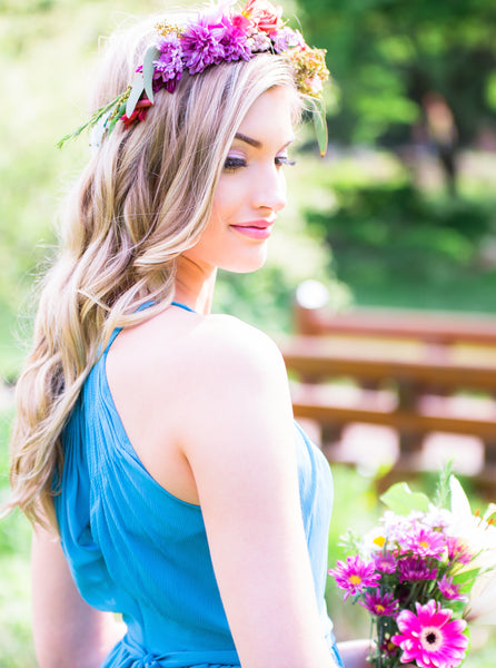 A vibrant DIY flower crown for the wedding day | Floral Headpiece Inspiration for Brides & Bridesmaids | Kennedy Blue