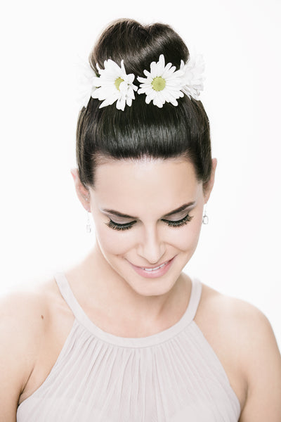 Accent a high bun with a mini flower crown | Floral Headpiece Inspiration for Brides & Bridesmaids | Kennedy Blue