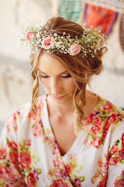 A flower crown made from babys breath and roses | Floral Headpiece Inspiration for Brides & Bridesmaids | Kennedy Blue