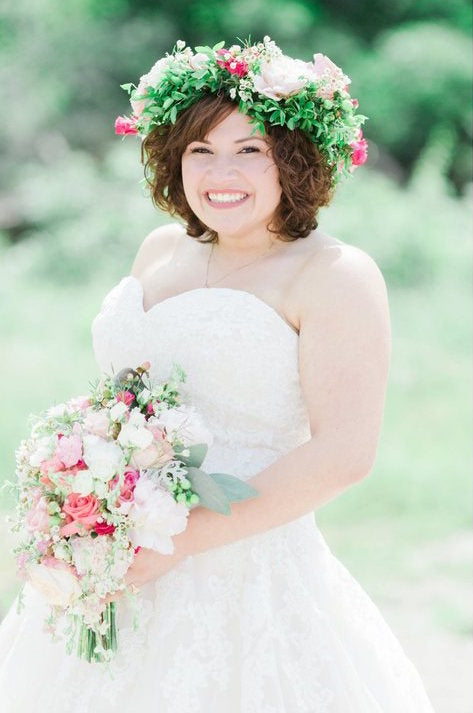 A vibrant green and pink flower crown | Floral Headpiece Inspiration for Brides & Bridesmaids | Kennedy Blue
