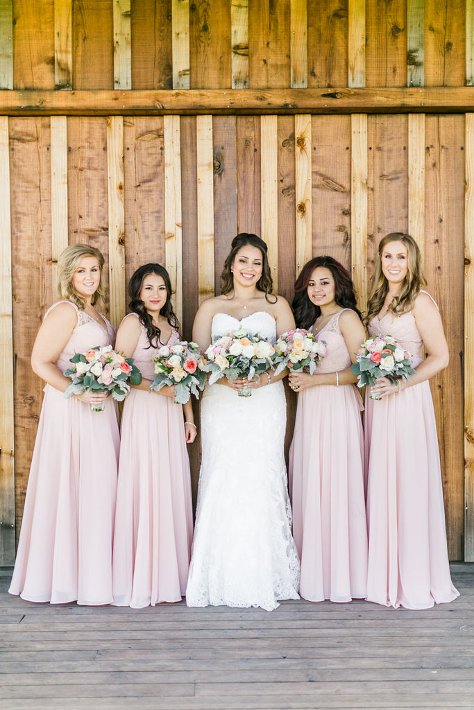 Long lace and chiffon blush pink bridesmaid dresses | 11 Pin-Worthy Blush Bridal Parties | Catherine Leanne Photography | Kennedy Blue