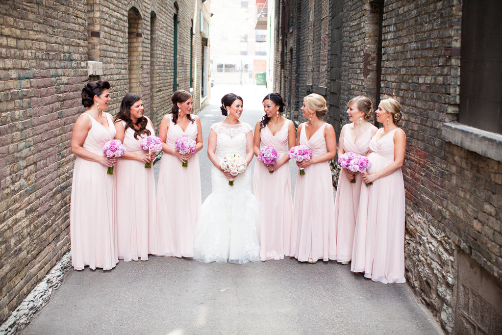 Long chiffon blush bridesmaid dresses in blush | 11 Pin-Worthy Blush Bridal Parties | Kye Samuelson Photography | Kennedy Blue
