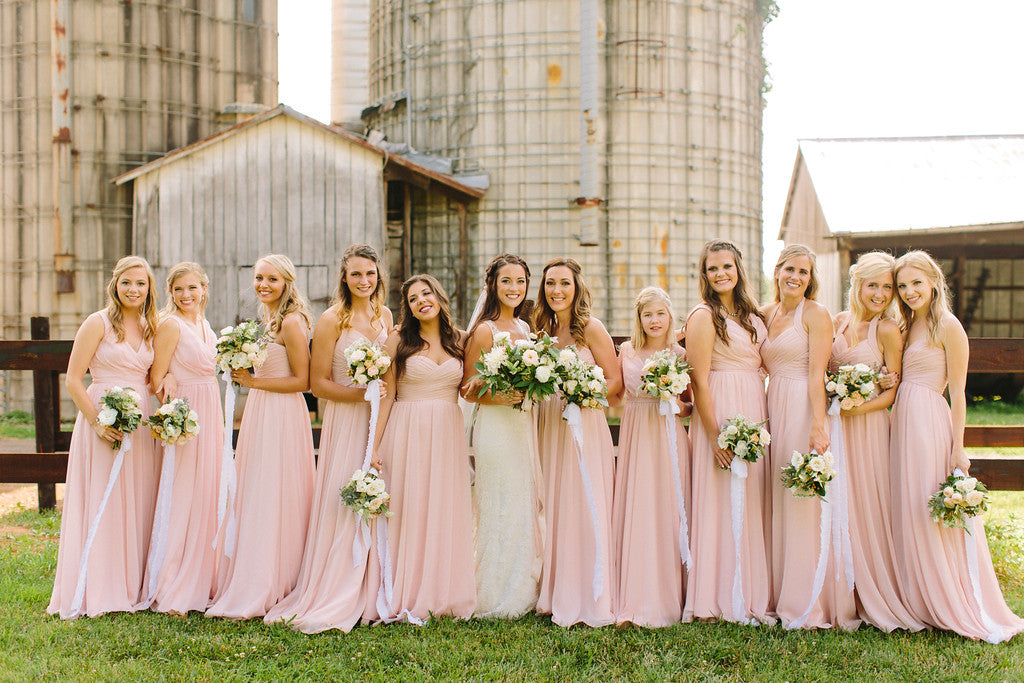 Long chiffon mix-and-match bridesmaid dresses in blush pink | 11 Pin-Worthy Bridal Parties | Jo Photo | Kennedy Blue