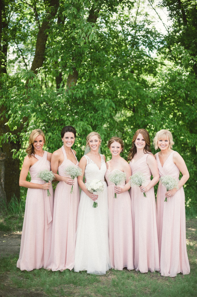 Mismatched long chiffon blush pink bridesmaid dresses | 11 Pin-Worthy Blush Bridal Parties | Katie Lewis Photography | Kennedy Blue