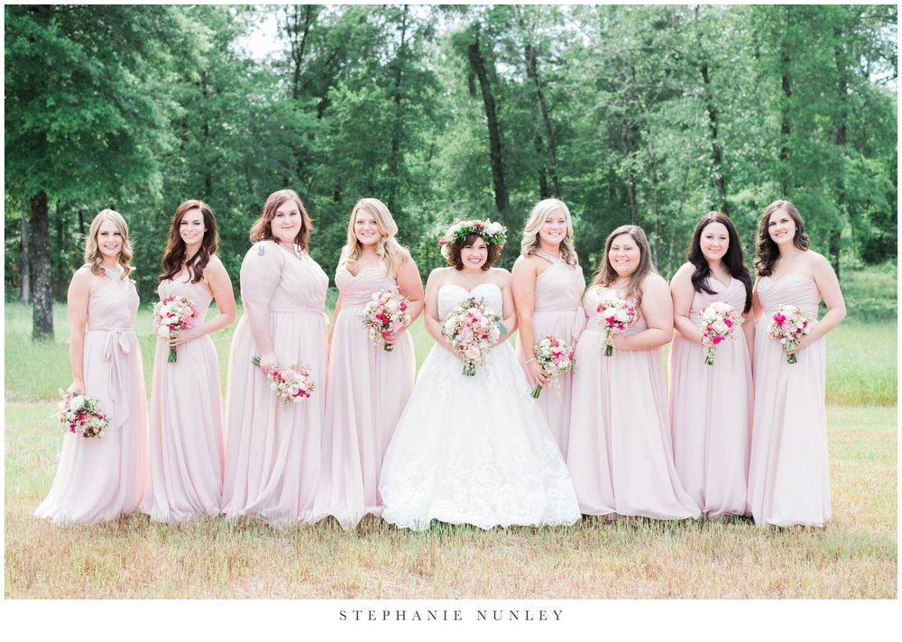 Long chiffon mix-and-match bridesmaid dresses in blush pink | 11 Pin-Worthy Blush Bridal Parties | Stephanie Nunley Photography | Kennedy Blue