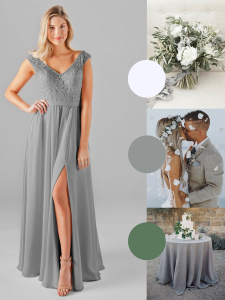 Morgan Kennedy Blue Bridesmaid Dress in Dove | The Best Beach Wedding Colors for Your Destination Wedding