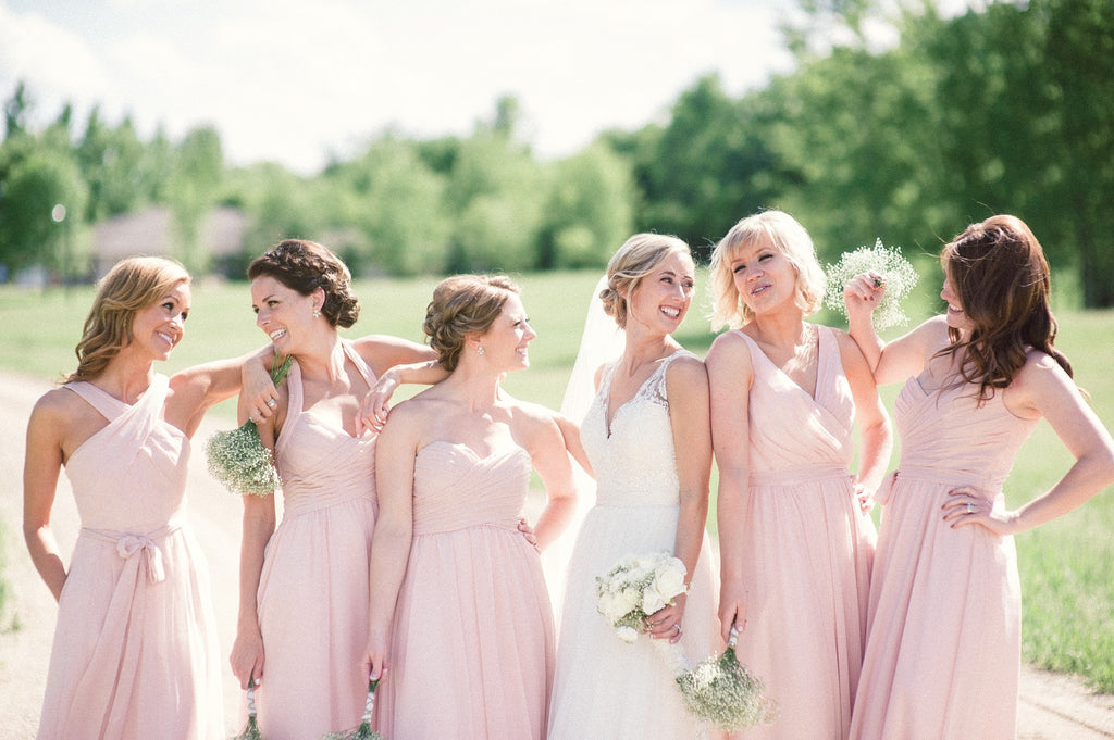 Long chiffon mix and match blush bridesmaid dresses | 11 Pin-Worthy Blush Bridal Parties | Katie Lewis Photography | Kennedy Blue
