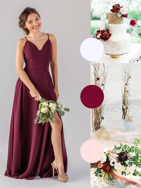 Elizabeth Kennedy Blue Bridesmaid Dress in Bourdeaux | The Best Beach Wedding Colors for Your Destination Wedding