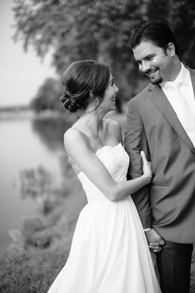 A black and white wedding picture of the bride and groom | Photo by Kayla Barker | Stunning Wedding Photos to Inspire Your Big Day! | Kennedy Blue