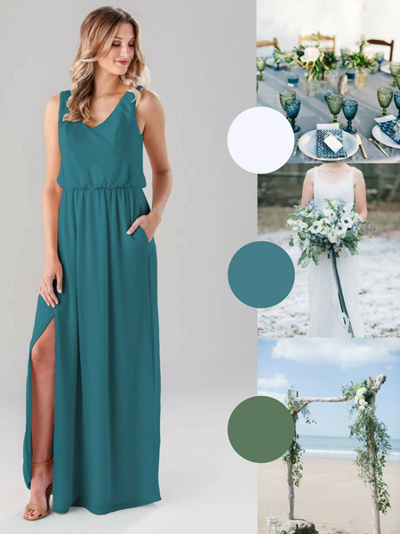 Rae Kennedy Blue Bridesmaid Dress in Teal | The Best Beach Wedding Colors for Your Destination Wedding