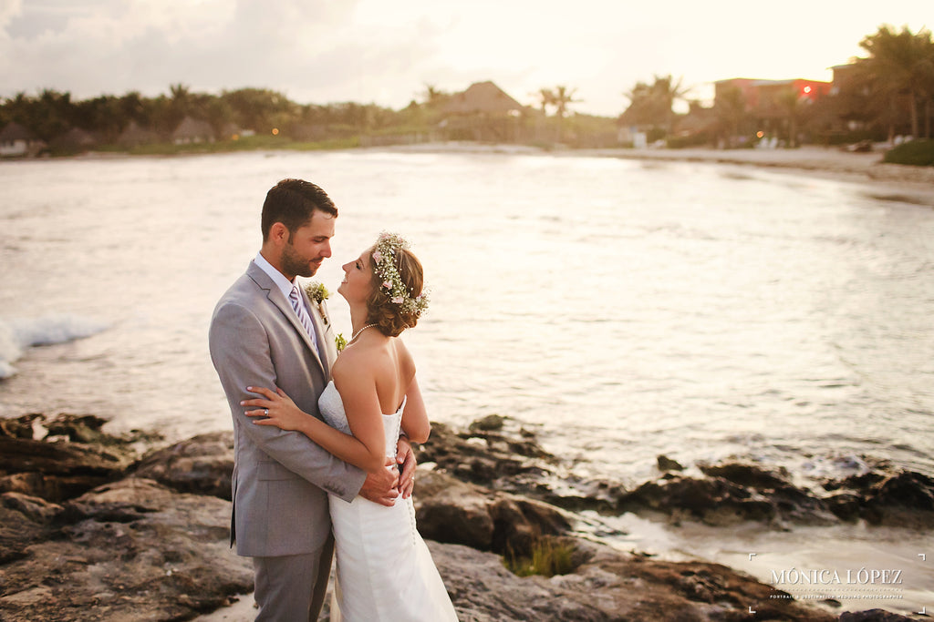 A gorgeous shot from a destination beach wedding in Mexico | Photo by Monica Lopez | Stunning Wedding Photos to Inspire Your Big Day! | Kennedy Blue