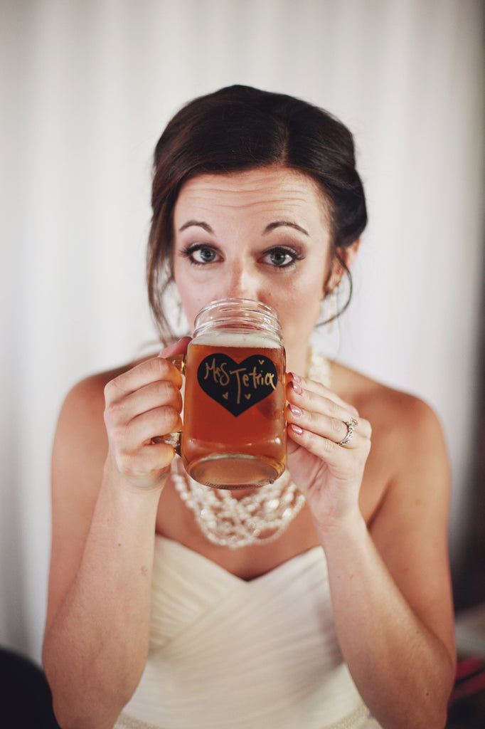 DIY, chalkboard mason jars. | A Whimsical Gold and Pink Wedding Day