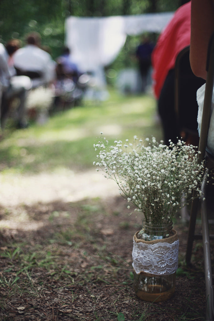 Baby's breath used for wedding decor. | A Whimsical Gold and Pink Wedding Day