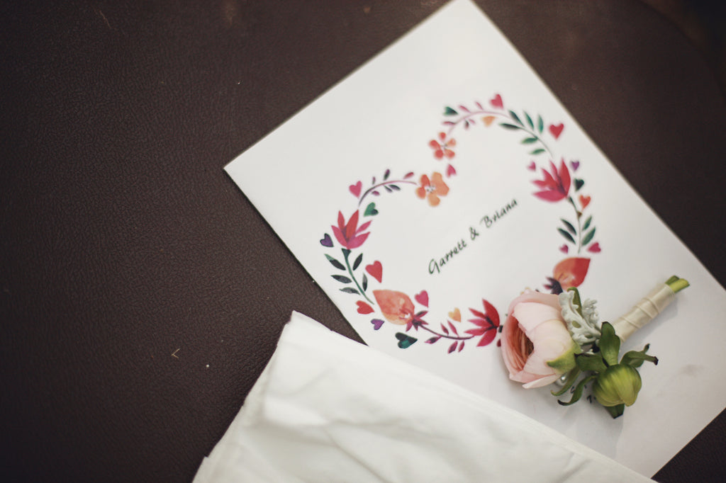 Floral wedding stationary. | A Whimsical Gold and Pink Wedding Day