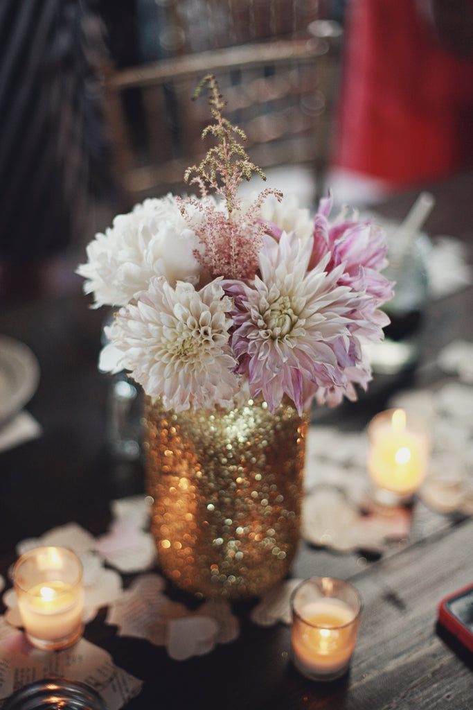 A gorgeous gold, glitter vase for floral wedding centerpieces. | A Whimsical Gold and Pink Wedding Day