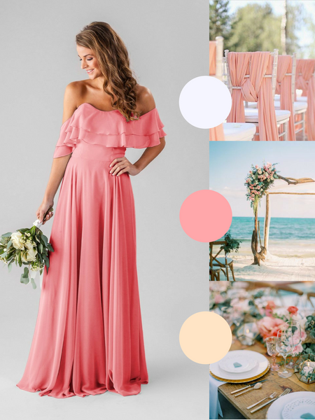 Allison Kennedy Blue Bridesmaid Dress in Cantaloupe | The Best Beach Wedding Colors for Your Destination Wedding