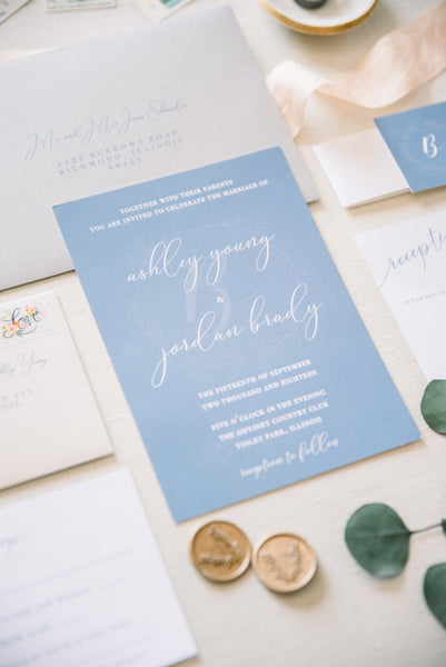 blue wedding invitation | Our Favorite Long Light Blue Bridesmaid Dresses