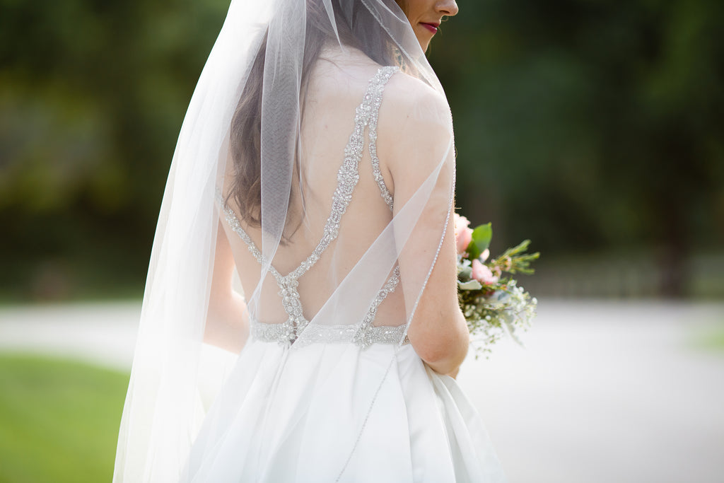 Beautiful beaded detailing on the back of Madison's Bridal Gown