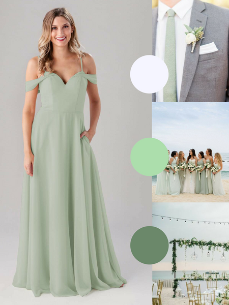 Samantha Kennedy Blue Bridesmaid Dress in Sage | The Best Beach Wedding Colors for Your Destination Wedding