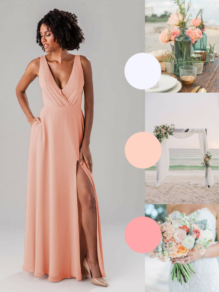 Lydia Kennedy Blue Bridesmaid Dress in Peach | The Best Beach Wedding Colors for Your Destination Wedding