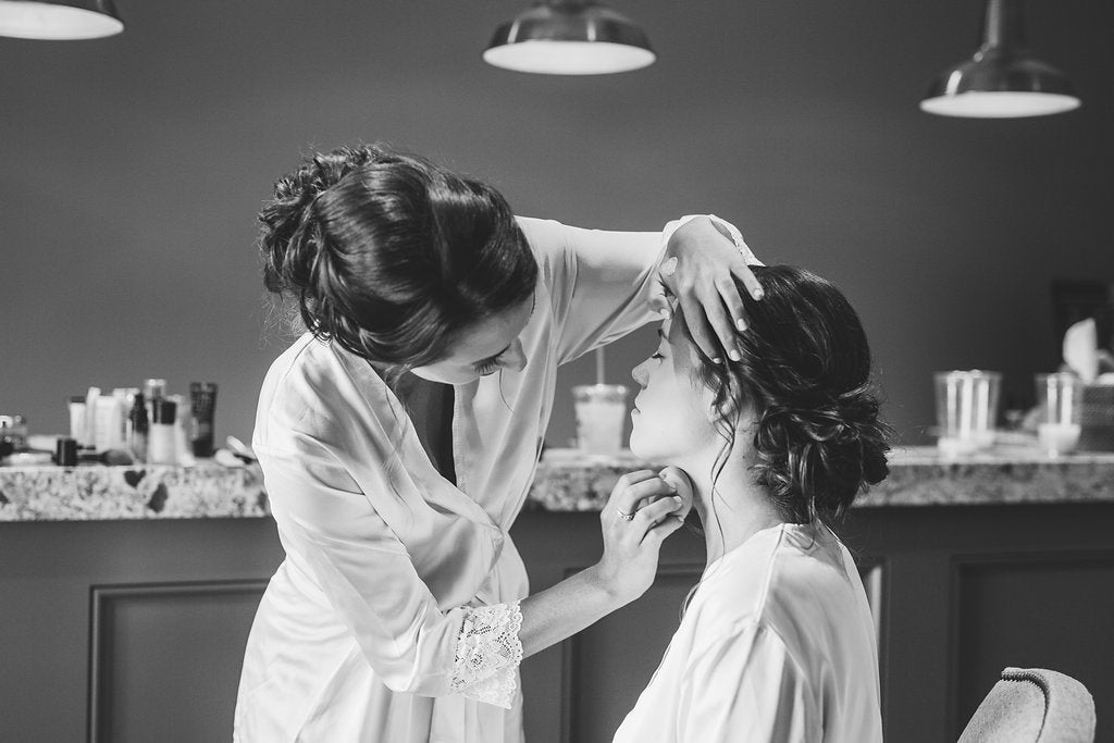 Photo of the bride getting ready! | A Simple & Stunning Sage Wedding | Kennedy Blue | Rachel Figueroa Photography
