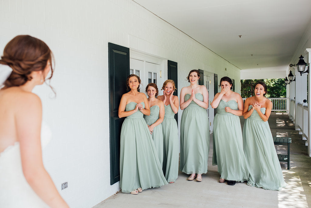 The bridesmaids looking at the bride for the first time! | A Simple & Stunning Sage Wedding | Kennedy Blue | Rachel Figueroa Photography