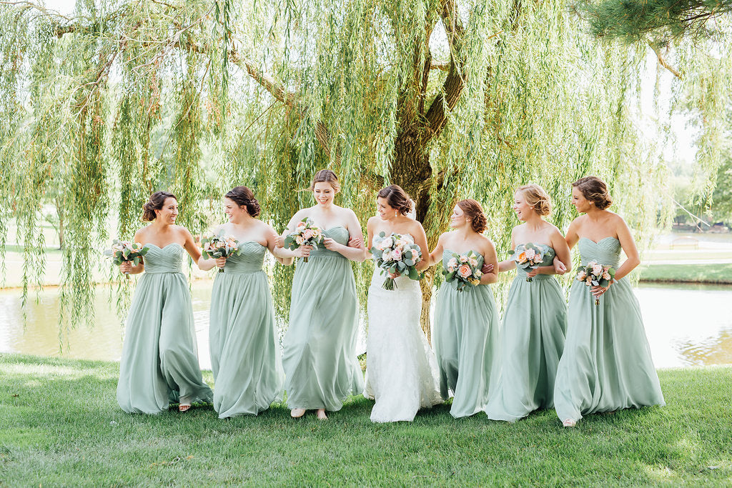 Cute photo of the bride and her 'maids! | A Simple & Stunning Sage Wedding | Kennedy Blue | Rachel Figueroa Photography