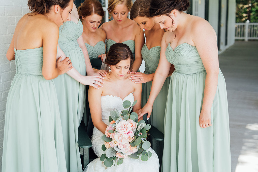 The bridesmaids and the bride! | A Simple & Stunning Sage Wedding | Kennedy Blue | Rachel Figueroa Photography