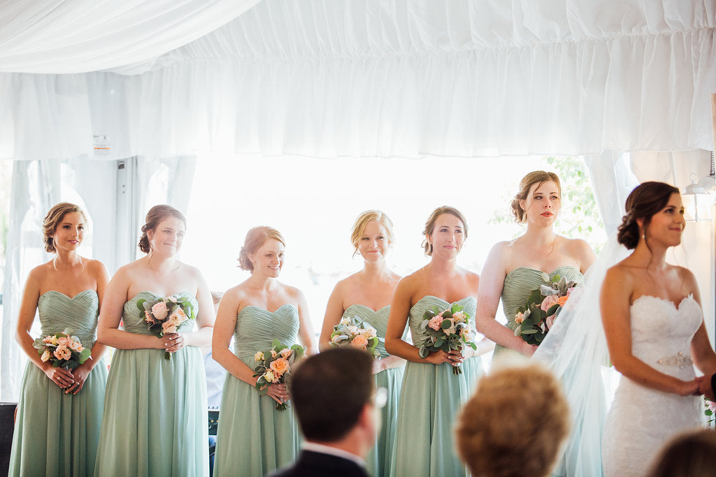 All the bridesmaids in their kennedy blue dresses! | A Simple & Stunning Sage Wedding | Kennedy Blue | Rachel Figueroa Photography