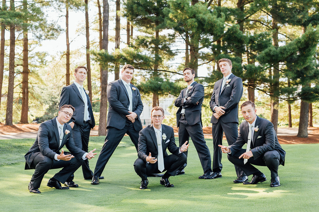 Funny pic of the groom and his groomsmen! | A Simple & Stunning Sage Wedding | Kennedy Blue | Rachel Figueroa Photography