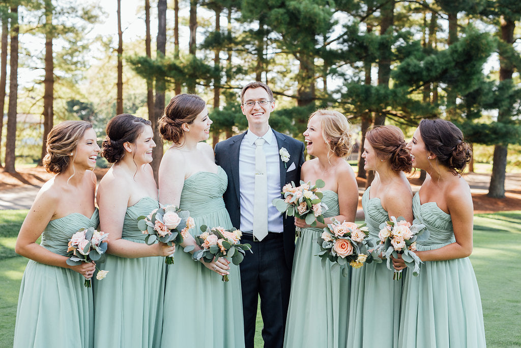 The groom and the bridesmaids! | A Simple & Stunning Sage Wedding | Kennedy Blue | Rachel Figueroa Photography