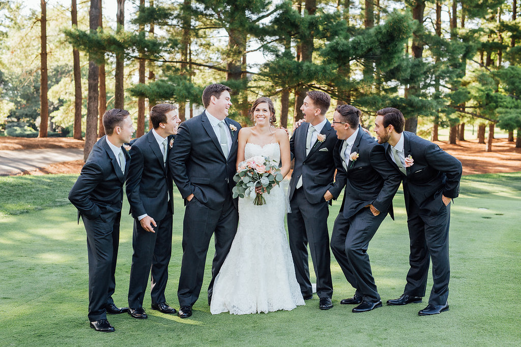 The bride and the groomsmen! | A Simple & Stunning Sage Wedding | Kennedy Blue | Rachel Figueroa Photography